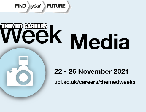 Graphic image of a camera, accompanied by text reading Media Themed Week, 22-26 November 2021
