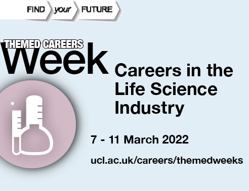 Graphic image of chemistry equipment, accompanied by text reading Careers in the Life Science Industry, 7-11 March 2022
