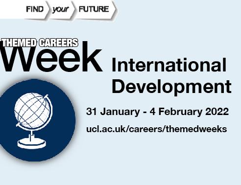 Graphic image of a globe, accompanied by text reading International Development, 31 January - 4 February 2022