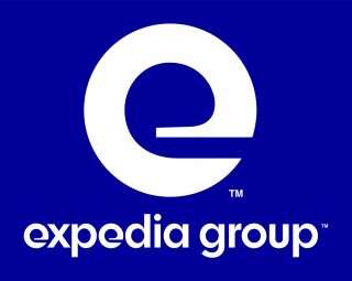 Expedia Group logo, blue background with a large white 'e' in the centre