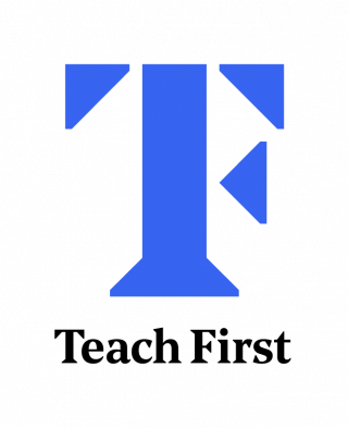 Teach First logo. Image is a large capital T in blue, with the words Teach First underneath it