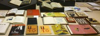 Books displayed on the table