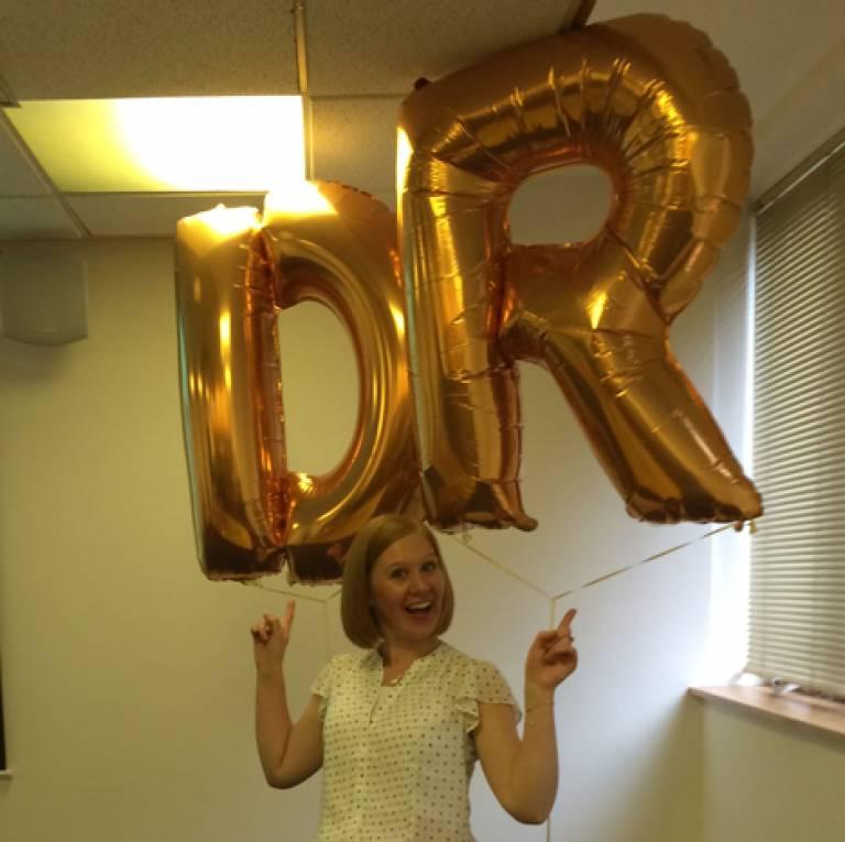 Amanda with PhD Balloons…