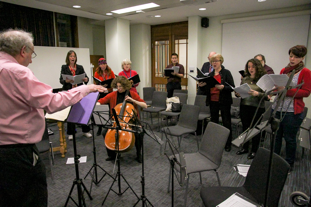 RB conducting the choir and cello