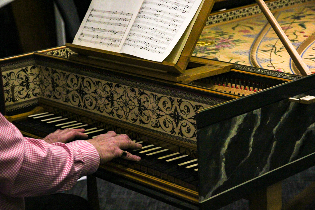 Fingers on harpsichord