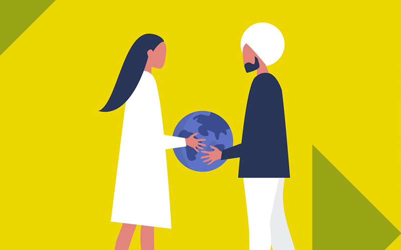 Illustration of two people holding a globe