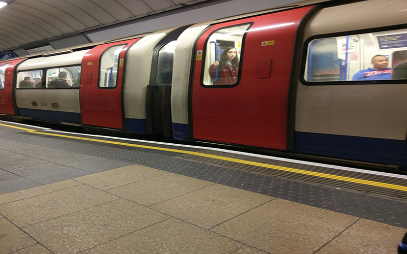London Underground tube train in station