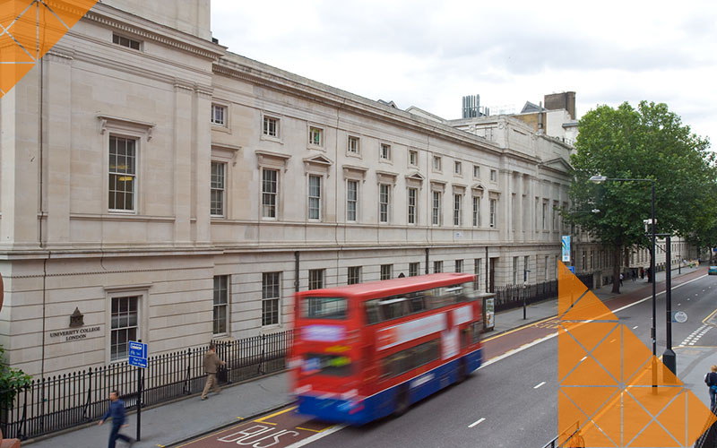 The UCL Chadwick Building on Gower Street, with a London bus passing in front.