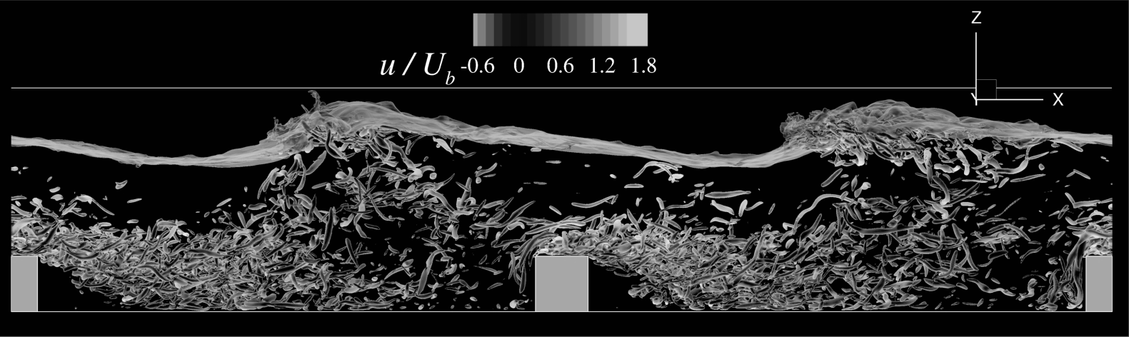 Free-surface turbulent channel over low square bars