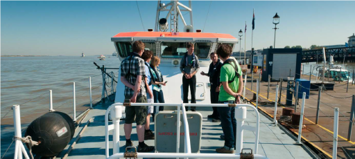 People on a hydrographic surveying boat