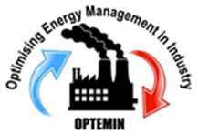 OPTEMIN logo showing a factory silhouette and arrows