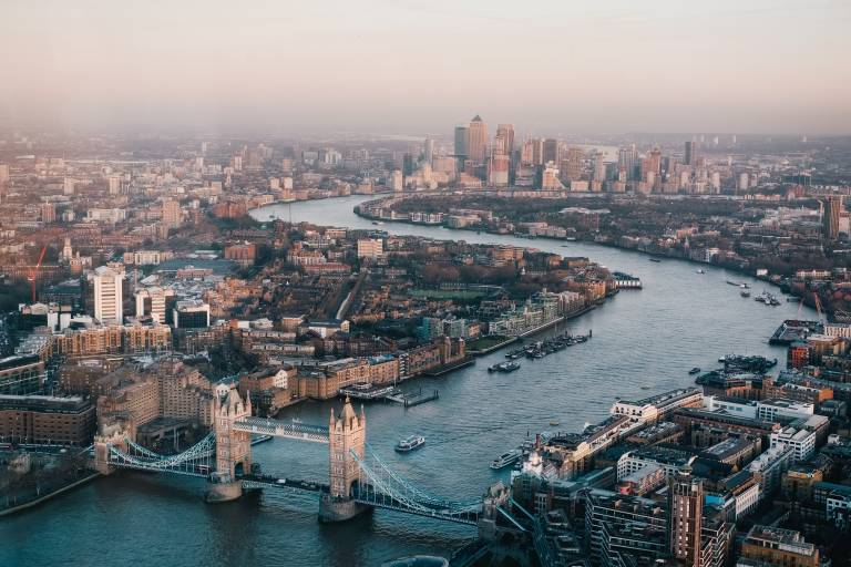 An aerial shot of London, the Thames and Tower Bridge.