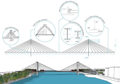 Architectural design drawing of Hammersmith Bridge