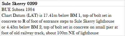 Example of writing Chart Datum with reference to tide gauge benchmarks (Skule Skerry)