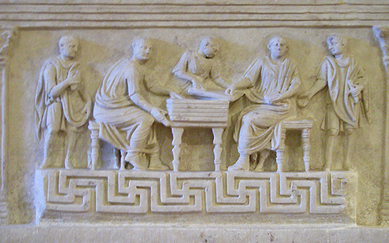 Bas relief wax tablet (Roman men), Rome Museo delle Terme