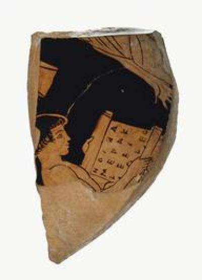 Boy reading a scroll (470-450 BC), Getty