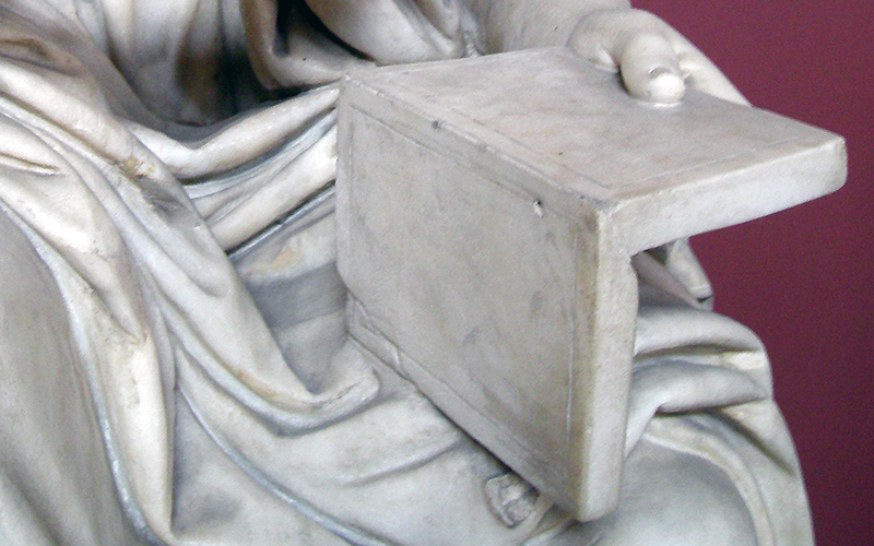 Statue, Vatican Museum, close up of hand holding tablet