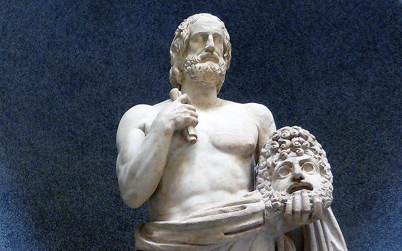 Statue: Poet of tragedies, head of Euripides