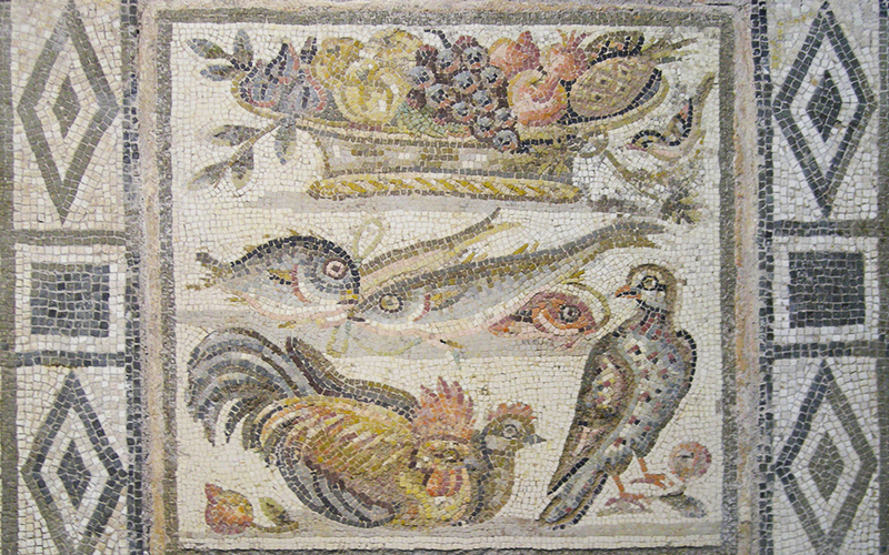 Mosaic, fruit, fish and birds, Rome Palazzo Massimo