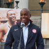 Thumbnail: Carl Lewis outside UCL quad