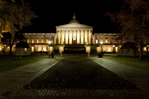 UCL quad at night