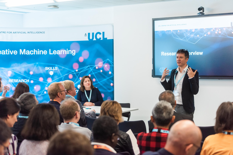 Prof David Barber presenting at AI Centre launch