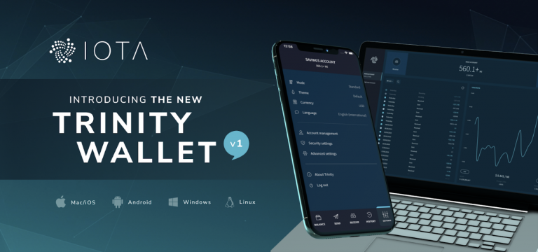 Image of smart phone and laptop publicising Trinity Wallet