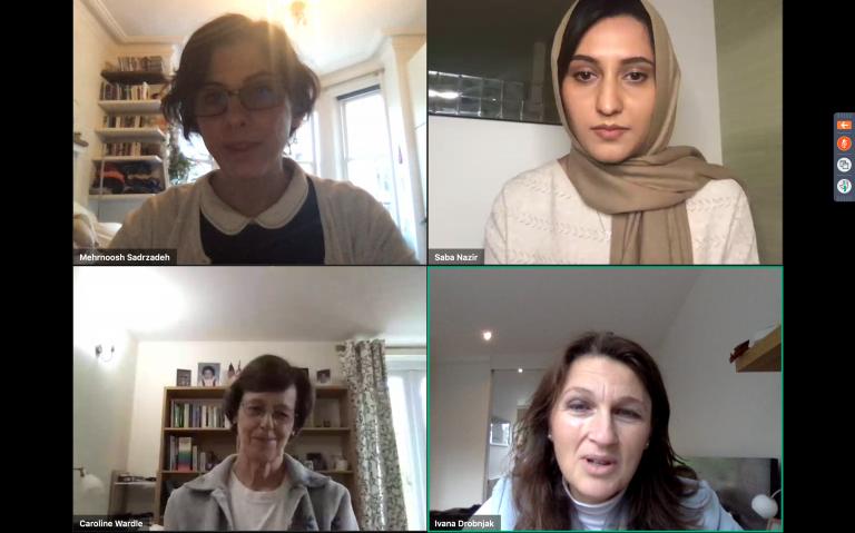 Screenshot of 4 female presenters at London Hopper virtual event