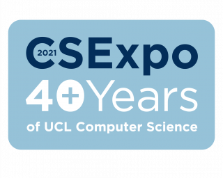 Celeste blue graphic with blue and white text: CS Expo: 40+ years of UCL Computer Science