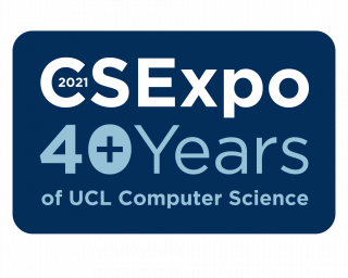 Dark blue logo with white text which reads: CS Expo. 40+ years of UCL Computer Science