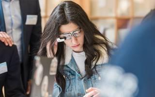Student wearing holo lens glasses