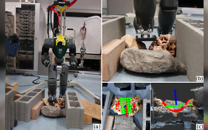 A collage of images showing robots being programmed to walk on uneven surfaces