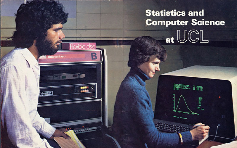80s pamphlet advertising UCL Stats and Comp Sci, showing male and female staff working at 80s style desktop machines