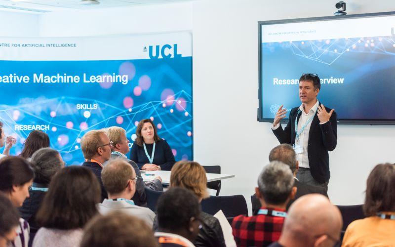 David Barber presenting at AI Centre launch