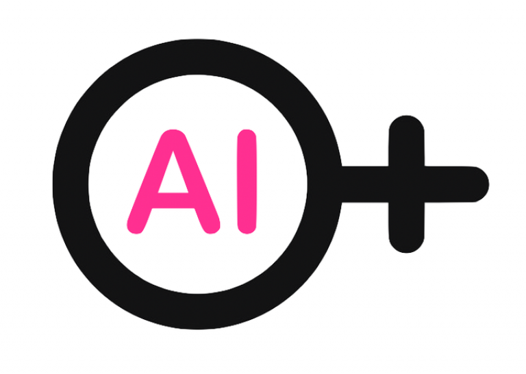 Grpahic of symbol for female with AI inside