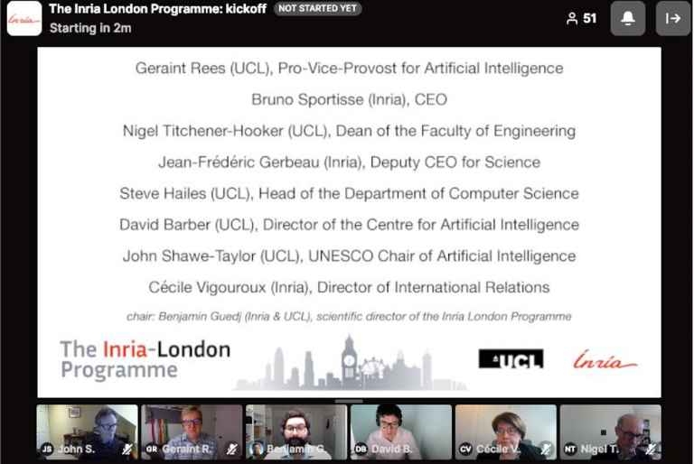 Screenshot displaying names and title of Inria and UCL programme staff with some panellists in view at the bottom of the image