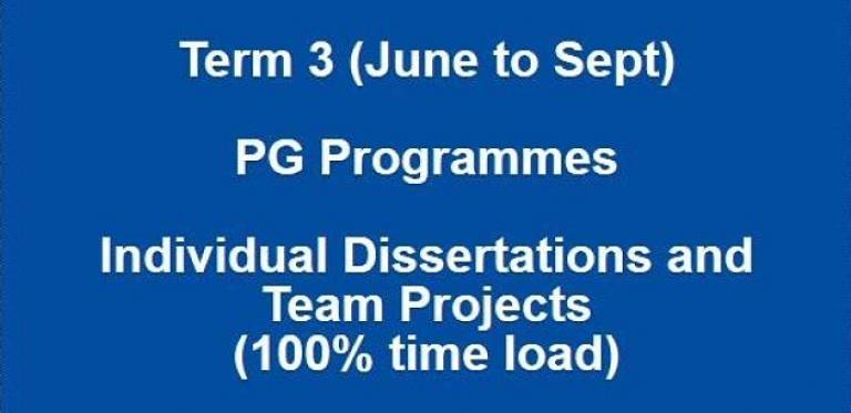 Term 3 (June to Sept) PG Programmes Individual Dissertations and Team Projects (100% time load)