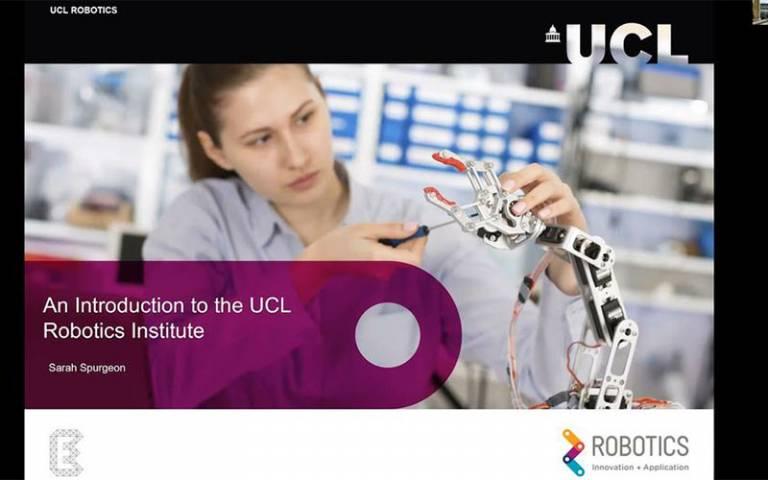 Screenshot of UCL 1st Robotics Workshop webinar