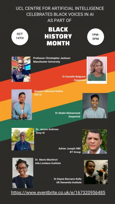 Speakers for Black History Month AI Centre event 2021