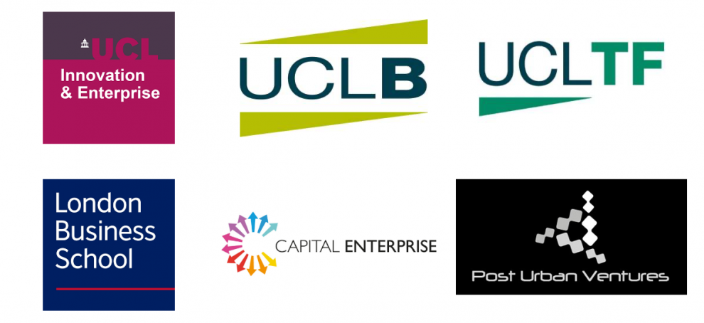 Partner logos left to right:UCL Innovation and Enterprise, UCL Business, UCL Tech Fund London Business School, Capital Enterprise, Post Urban Ventures