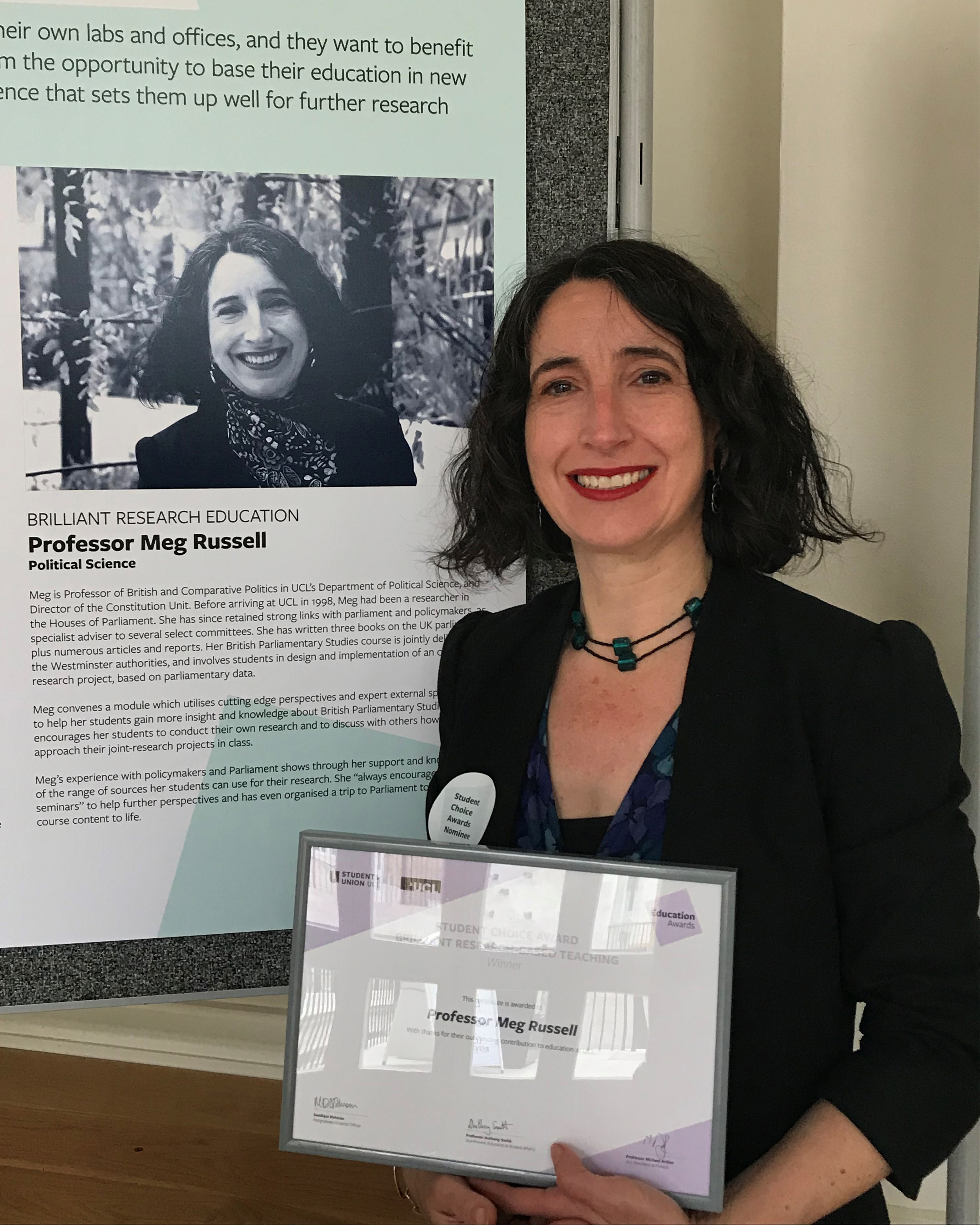 Meg Russell wins award for research-based teaching | The