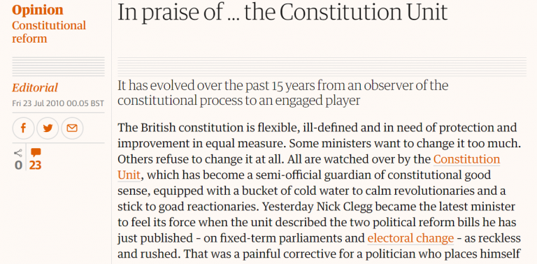 The Guardian in praise of the Constitution Unit