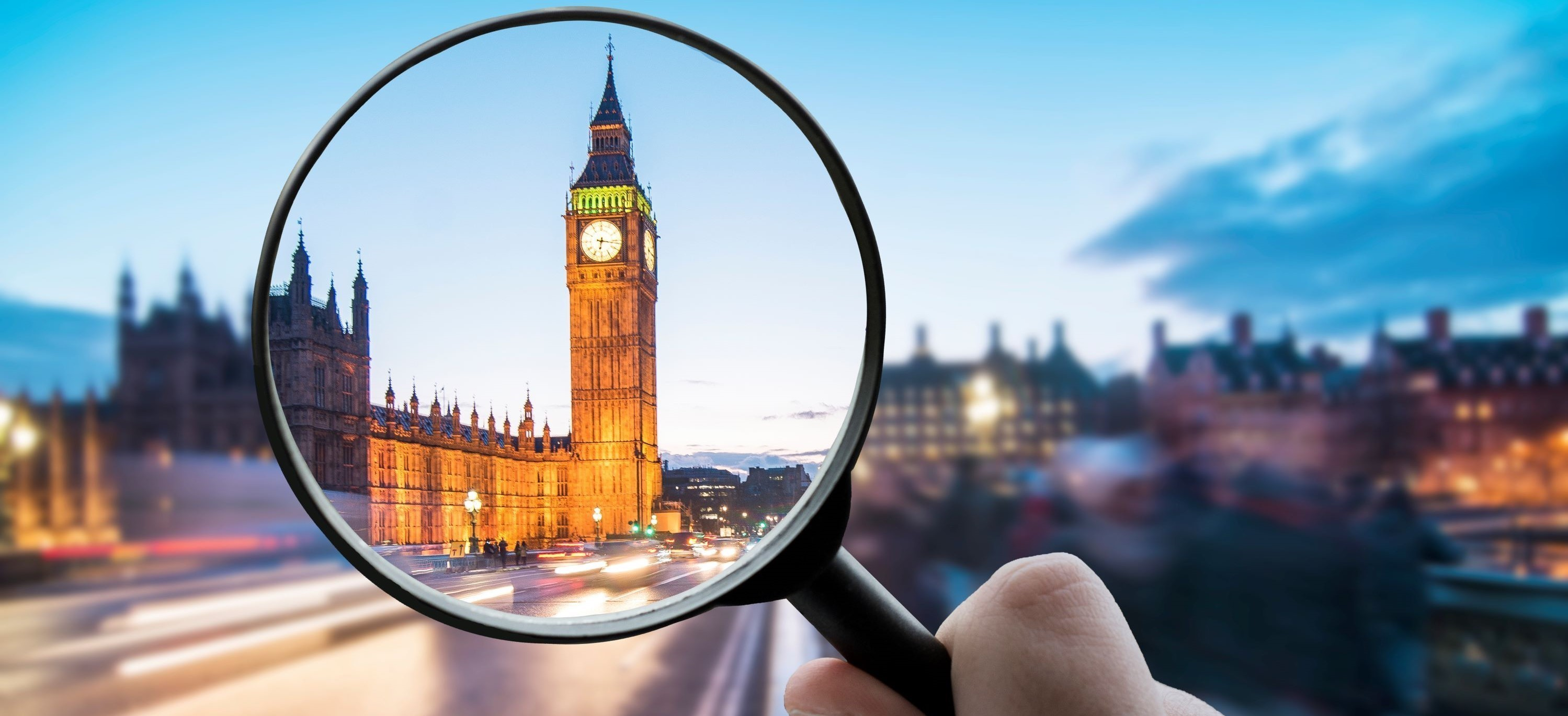 Houses of Parliament through a magnifying glass