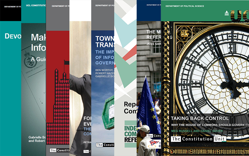 Front covers of various Constitution Unit publications