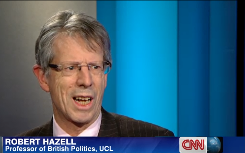 Still of Prof Robert Hazell speaking about Scottish independence on CNN