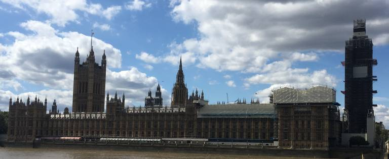Houses of parliament under scaffolding