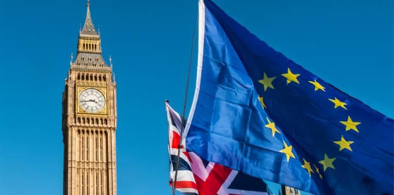 UK and EU flag in front of Big Ben