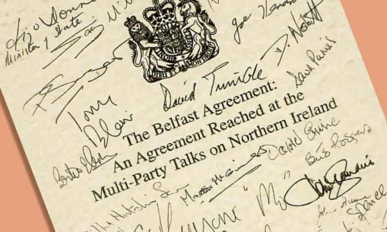 Signatures of the main political actors on the Good Friday Agreement document