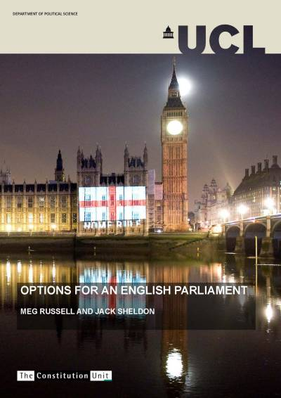 Cover of the 'Options for an English Parliament' report shows Big Ben and Palace of Westminster