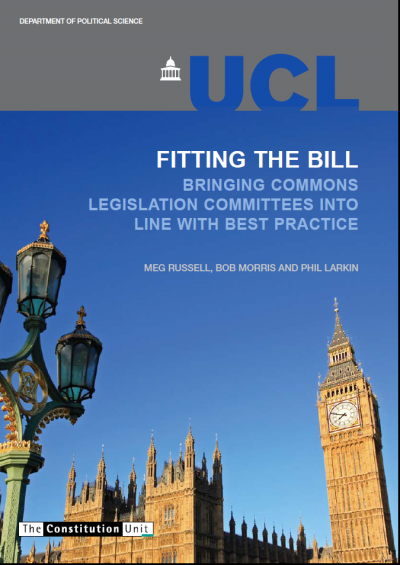 Front cover of the 'Fitting the bill' report showing Big Ben and the Palace of Westminster against a bright blue sky